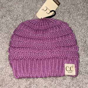 C.C kids purple hat winter warm girls youth beanie